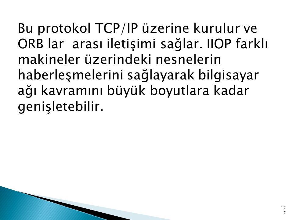 Bu protokol TCP/IP üzerine kurulur ve ORB lar arası iletişimi sağlar