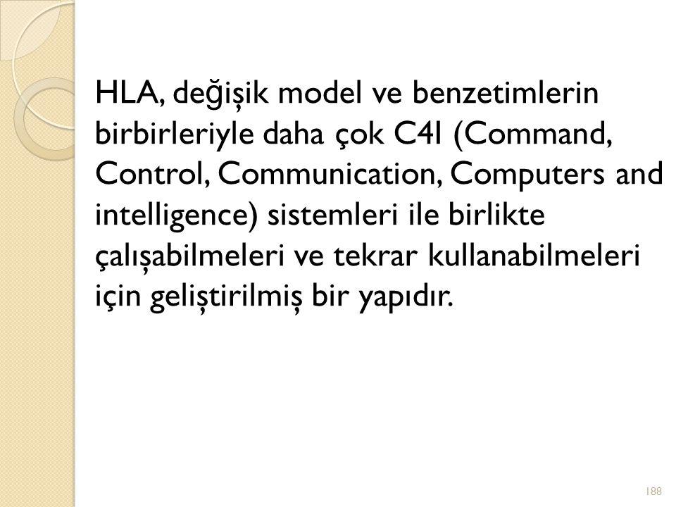 HLA, değişik model ve benzetimlerin birbirleriyle daha çok C4I (Command, Control, Communication, Computers and intelligence) sistemleri ile birlikte çalışabilmeleri ve tekrar kullanabilmeleri için geliştirilmiş bir yapıdır.