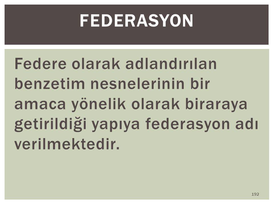 FEDERASYON Federe olarak adlandırılan benzetim nesnelerinin bir amaca yönelik olarak biraraya getirildiği yapıya federasyon adı verilmektedir.