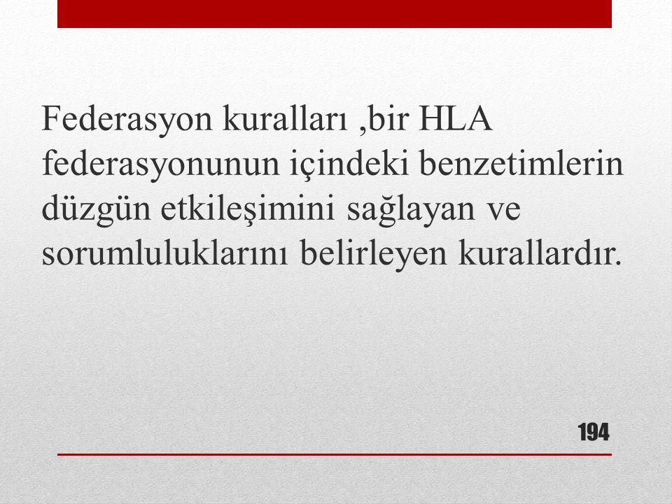 Federasyon kuralları ,bir HLA federasyonunun içindeki benzetimlerin düzgün etkileşimini sağlayan ve sorumluluklarını belirleyen kurallardır.