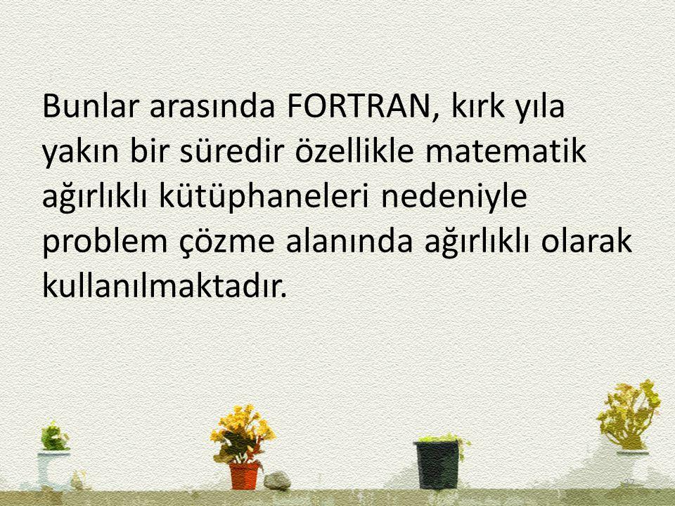 Bunlar arasında FORTRAN, kırk yıla yakın bir süredir özellikle matematik ağırlıklı kütüphaneleri nedeniyle problem çözme alanında ağırlıklı olarak kullanılmaktadır.