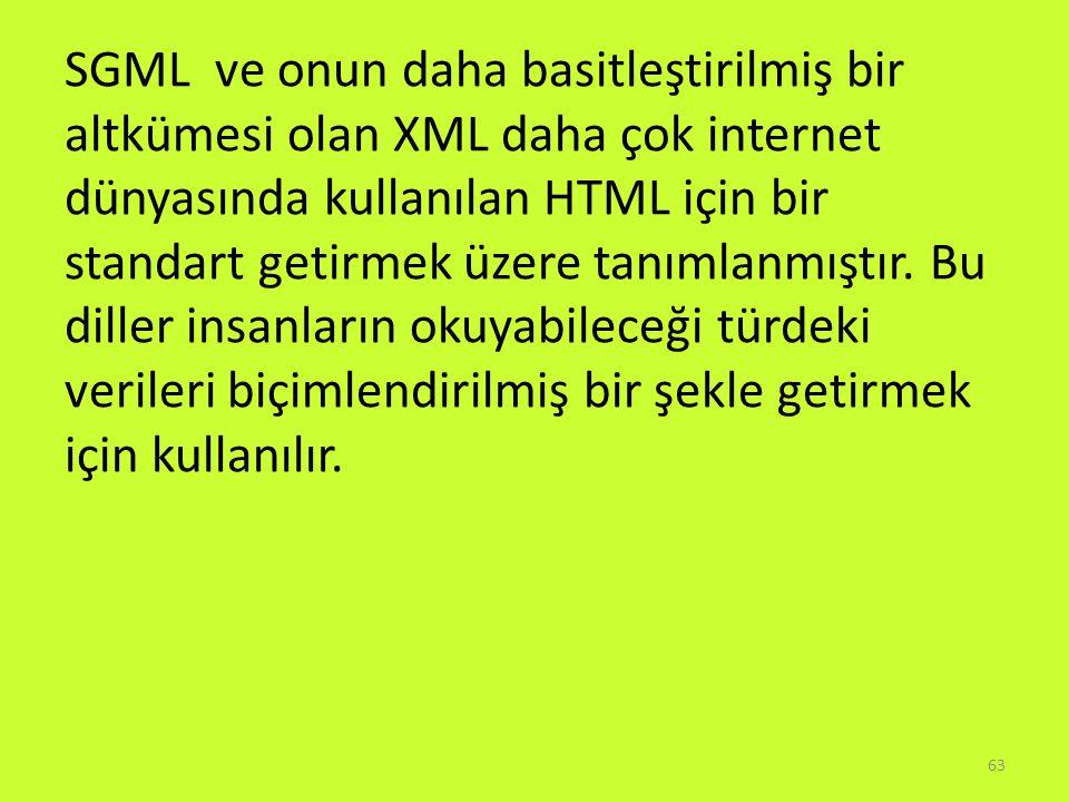 SGML ve onun daha basitleştirilmiş bir altkümesi olan XML daha çok internet dünyasında kullanılan HTML için bir standart getirmek üzere tanımlanmıştır.
