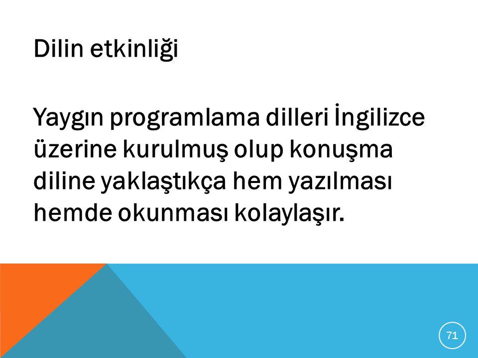 Dilin etkinliği Yaygın programlama dilleri İngilizce üzerine kurulmuş olup konuşma diline yaklaştıkça hem yazılması hemde okunması kolaylaşır.