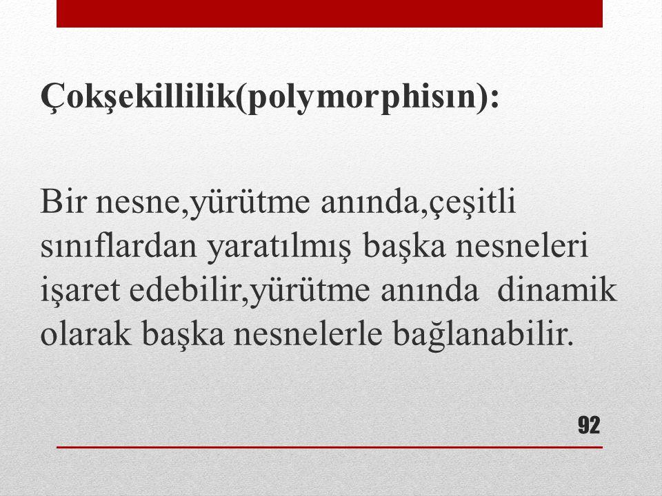 Çokşekillilik(polymorphisın):