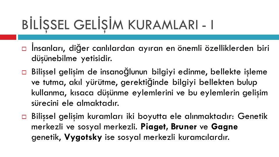 BİLİŞSEL GELİŞİM KURAMLARI - I