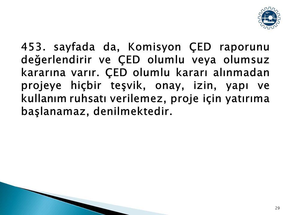 453. sayfada da, Komisyon ÇED raporunu değerlendirir ve ÇED olumlu veya olumsuz kararına varır.