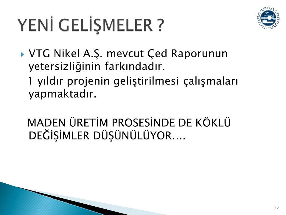 YENİ GELİŞMELER VTG Nikel A.Ş. mevcut Çed Raporunun yetersizliğinin farkındadır. 1 yıldır projenin geliştirilmesi çalışmaları yapmaktadır.