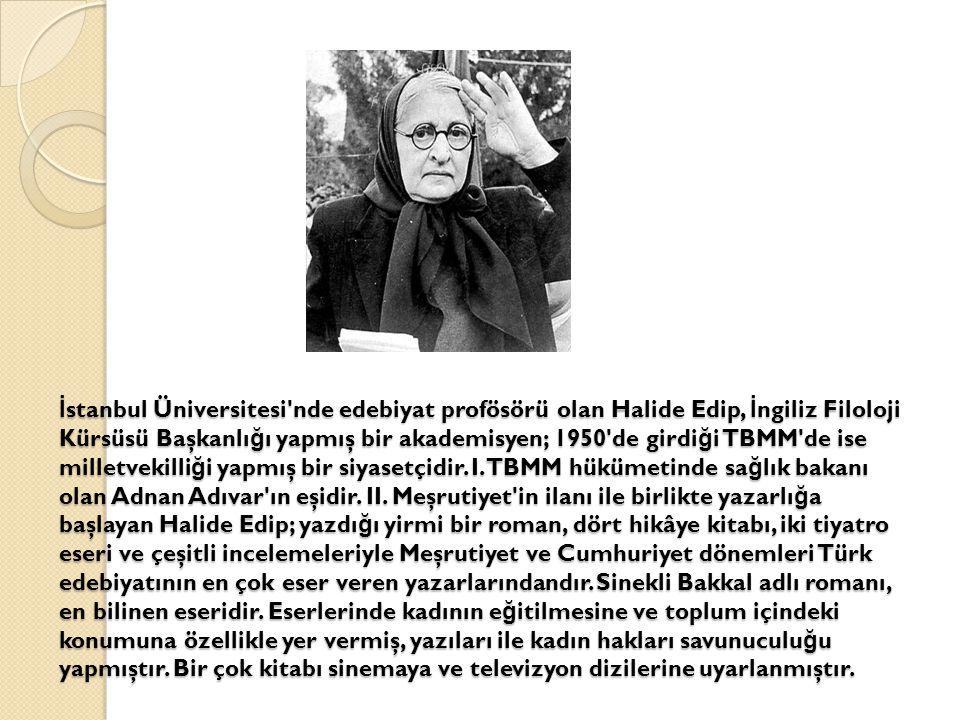 İstanbul Üniversitesi nde edebiyat profösörü olan Halide Edip, İngiliz Filoloji Kürsüsü Başkanlığı yapmış bir akademisyen; 1950 de girdiği TBMM de ise milletvekilliği yapmış bir siyasetçidir.