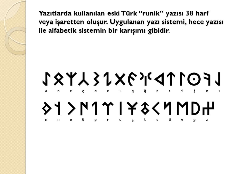 Yazıtlarda kullanılan eski Türk runik yazısı 38 harf veya işaretten oluşur.