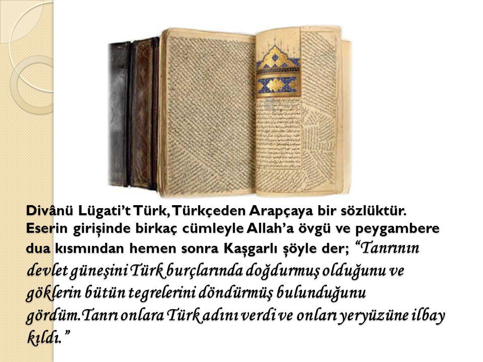 Divânü Lügati't Türk, Türkçeden Arapçaya bir sözlüktür