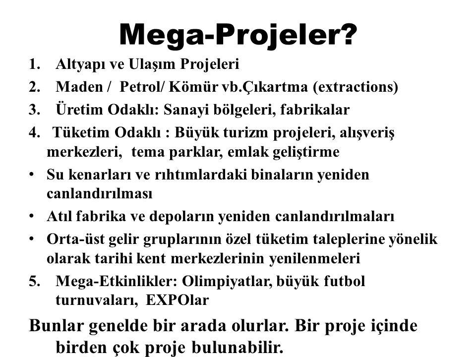 Mega-Projeler Altyapı ve Ulaşım Projeleri. Maden / Petrol/ Kömür vb.Çıkartma (extractions) Üretim Odaklı: Sanayi bölgeleri, fabrikalar.