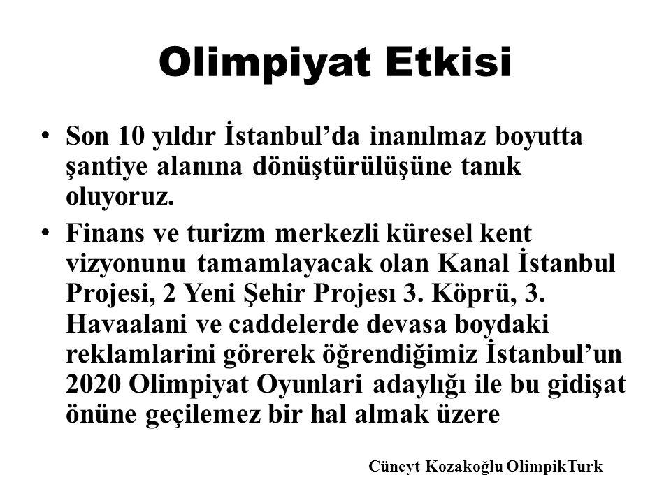 Olimpiyat Etkisi Son 10 yıldır İstanbul'da inanılmaz boyutta şantiye alanına dönüştürülüşüne tanık oluyoruz.