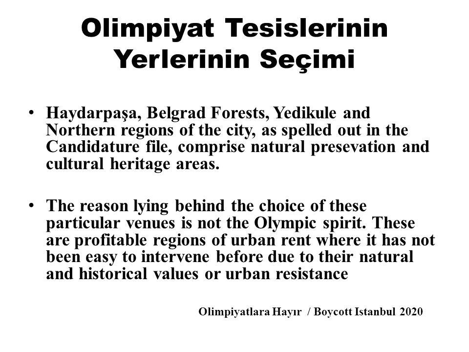 Olimpiyat Tesislerinin Yerlerinin Seçimi