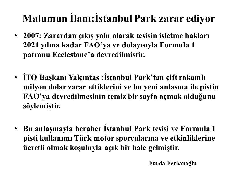 Malumun İlanı:İstanbul Park zarar ediyor