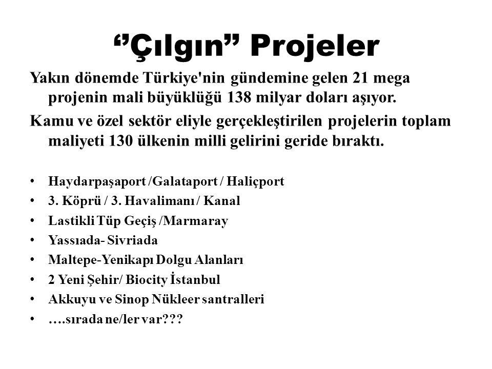 ''Çılgın'' Projeler Yakın dönemde Türkiye nin gündemine gelen 21 mega projenin mali büyüklüğü 138 milyar doları aşıyor.
