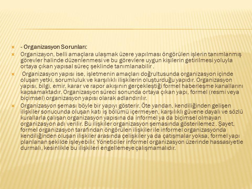 - Organizasyon Sorunları: