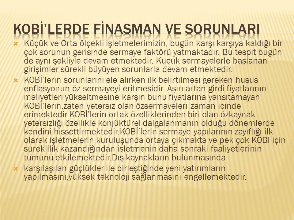 KOBİ'LERDE FİNASMAN VE SORUNLARI