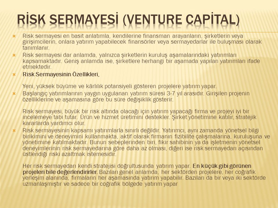 RİSK SERMAYESİ (VENTURE CAPİTAL)