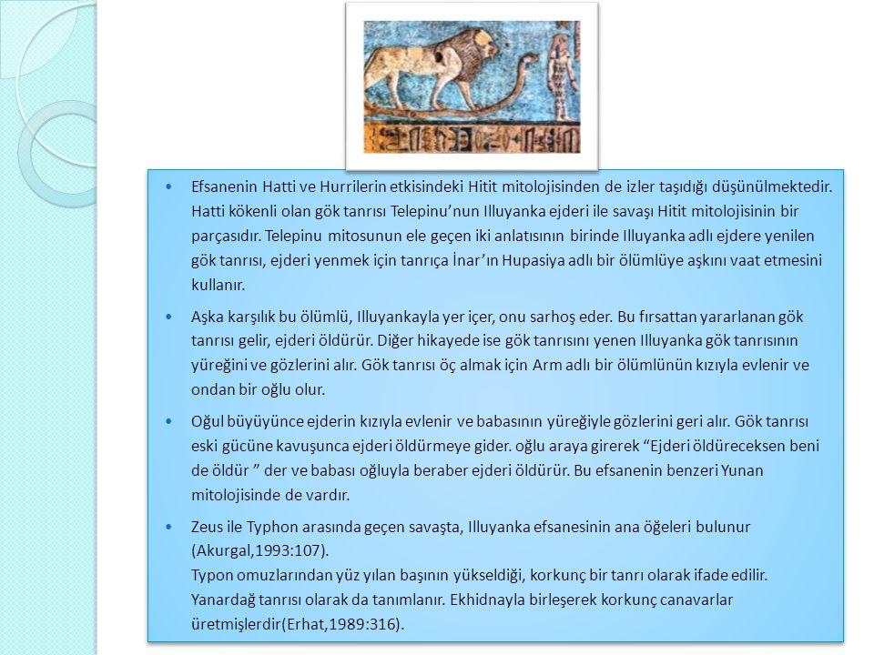 Efsanenin Hatti ve Hurrilerin etkisindeki Hitit mitolojisinden de izler taşıdığı düşünülmektedir. Hatti kökenli olan gök tanrısı Telepinu'nun Illuyanka ejderi ile savaşı Hitit mitolojisinin bir parçasıdır. Telepinu mitosunun ele geçen iki anlatısının birinde Illuyanka adlı ejdere yenilen gök tanrısı, ejderi yenmek için tanrıça İnar'ın Hupasiya adlı bir ölümlüye aşkını vaat etmesini kullanır.
