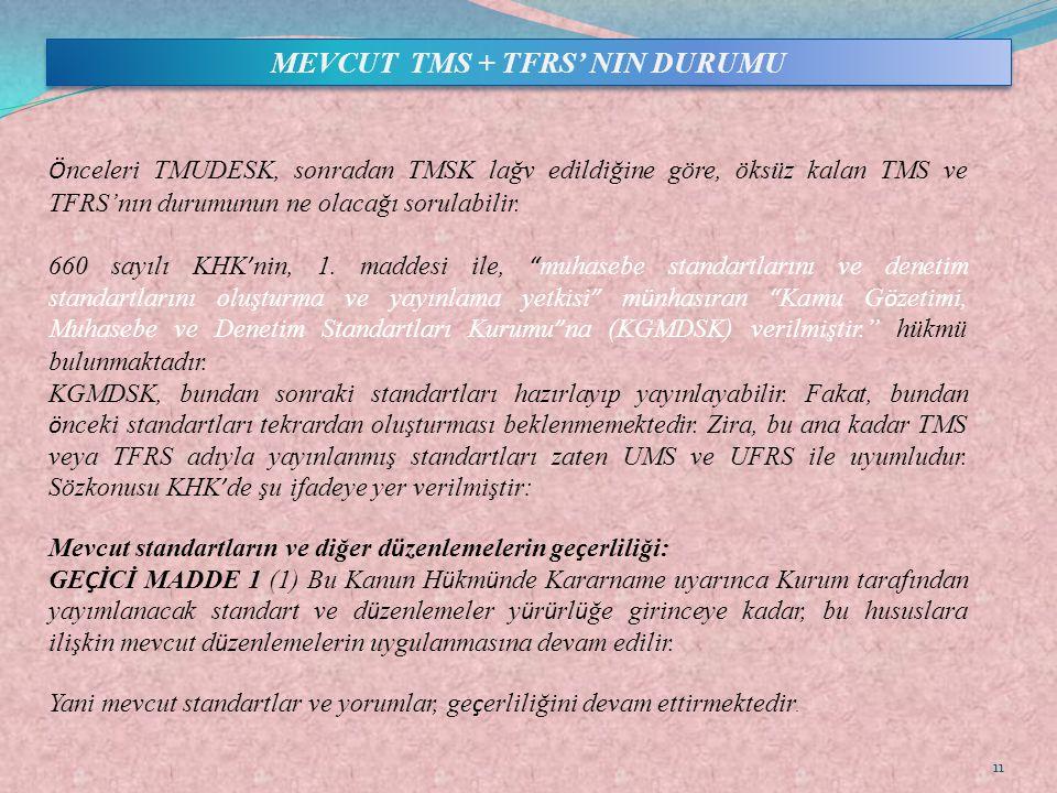 MEVCUT TMS + TFRS' NIN DURUMU