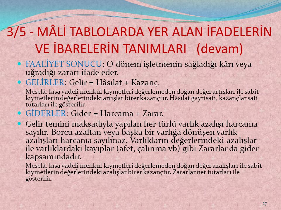3/5 - MÂLİ TABLOLARDA YER ALAN