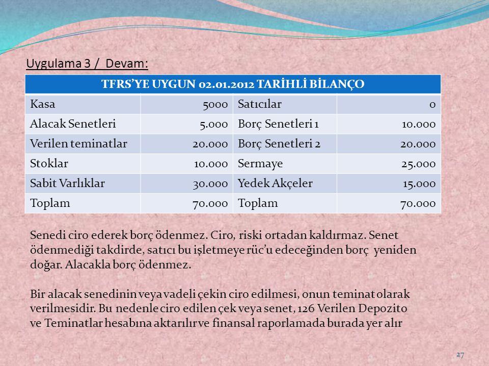 TFRS'YE UYGUN 02.01.2012 TARİHLİ BİLANÇO