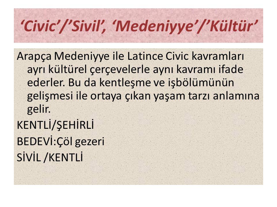 'Civic'/'Sivil', 'Medeniyye'/'Kültür'