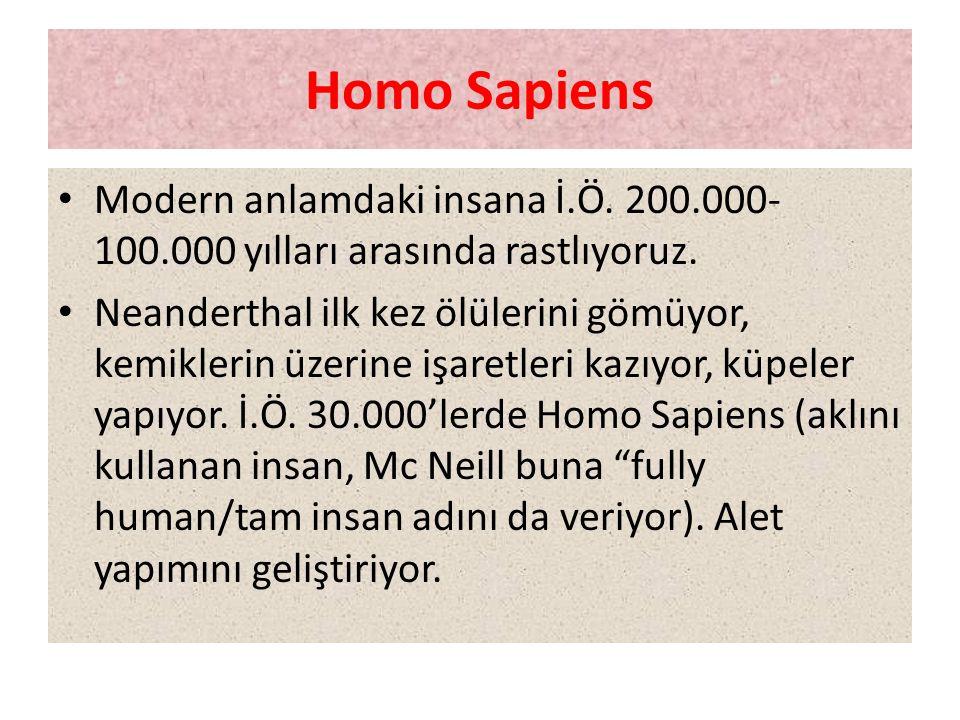 Homo Sapiens Modern anlamdaki insana İ.Ö. 200.000-100.000 yılları arasında rastlıyoruz.
