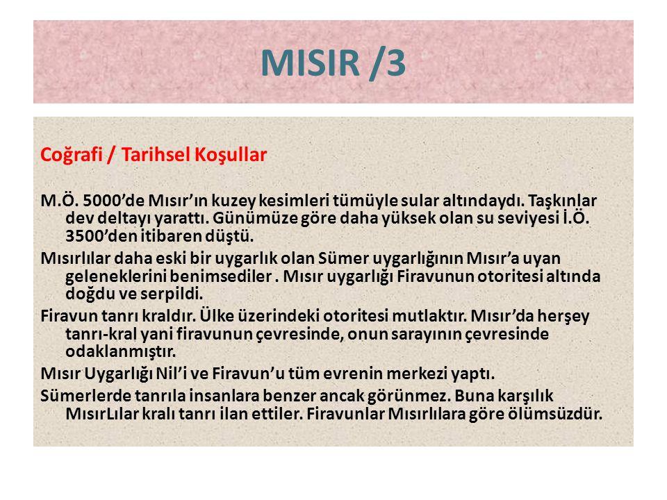 MISIR /3 Coğrafi / Tarihsel Koşullar