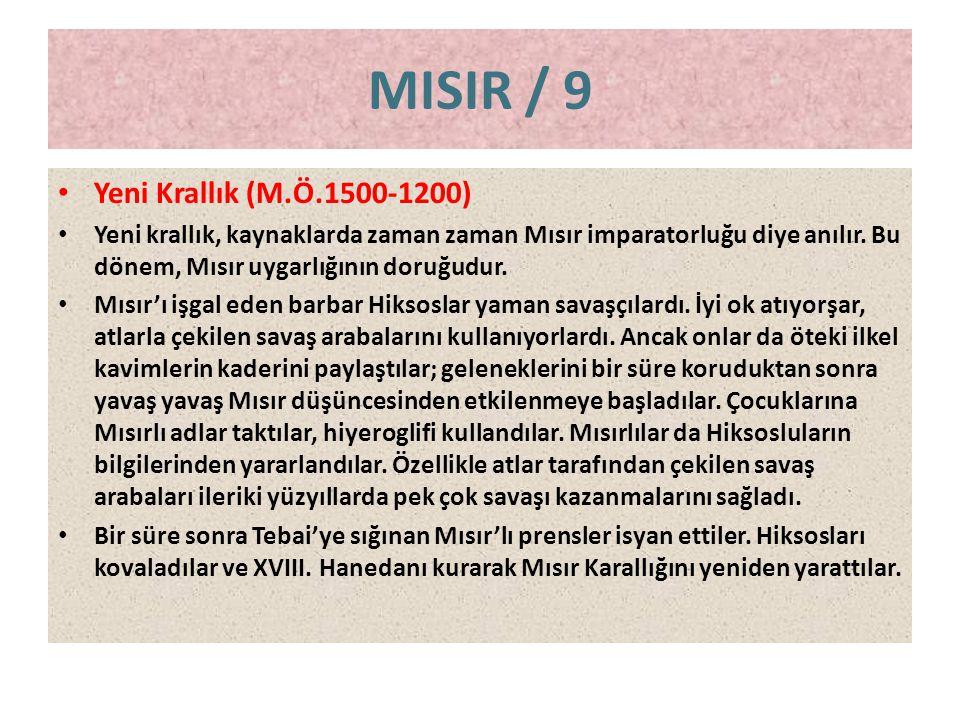 MISIR / 9 Yeni Krallık (M.Ö.1500-1200)