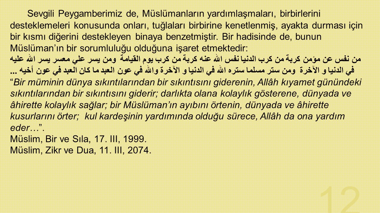 Sevgili Peygamberimiz de, Müslümanların yardımlaşmaları, birbirlerini desteklemeleri konusunda onları, tuğlaları birbirine kenetlenmiş, ayakta durması için bir kısmı diğerini destekleyen binaya benzetmiştir. Bir hadisinde de, bunun Müslüman'ın bir sorumluluğu olduğuna işaret etmektedir: