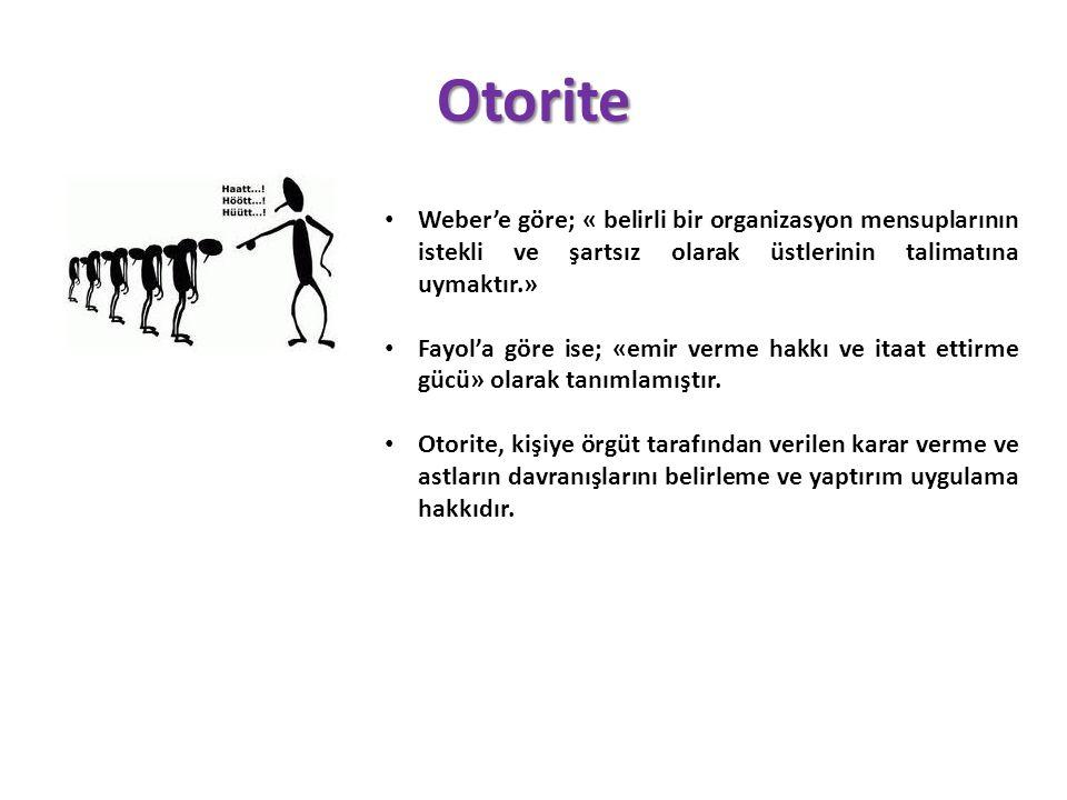 Otorite Weber'e göre; « belirli bir organizasyon mensuplarının istekli ve şartsız olarak üstlerinin talimatına uymaktır.»
