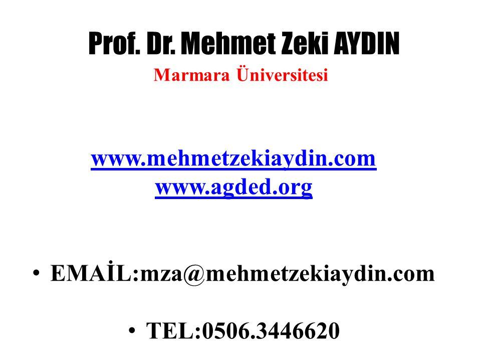 Prof. Dr. Mehmet Zeki AYDIN Marmara Üniversitesi