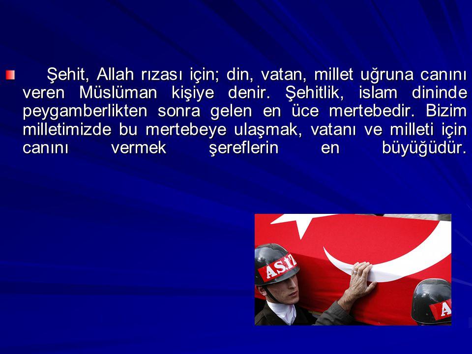 Şehit, Allah rızası için; din, vatan, millet uğruna canını veren Müslüman kişiye denir.