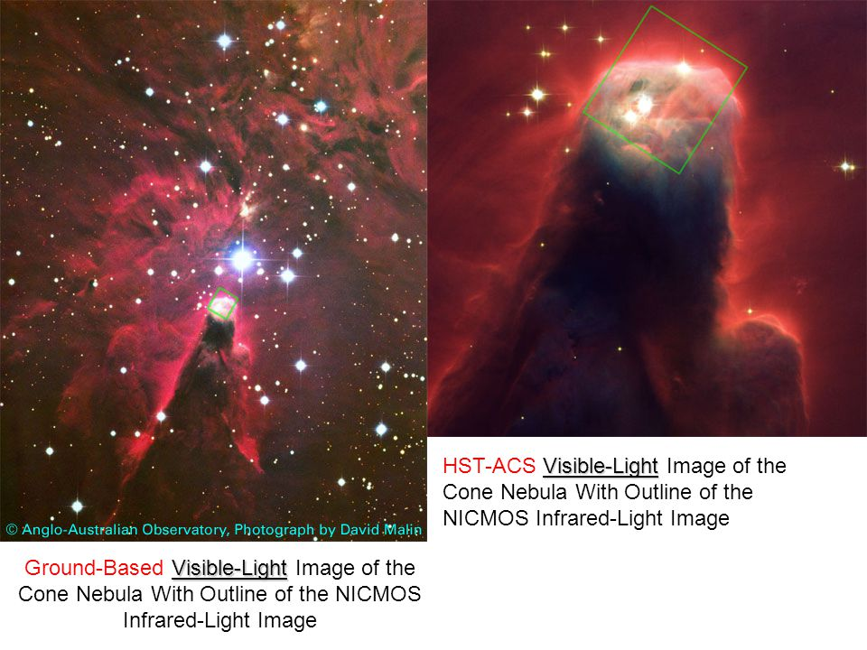 HST-ACS Visible-Light Image of the Cone Nebula With Outline of the NICMOS Infrared-Light Image