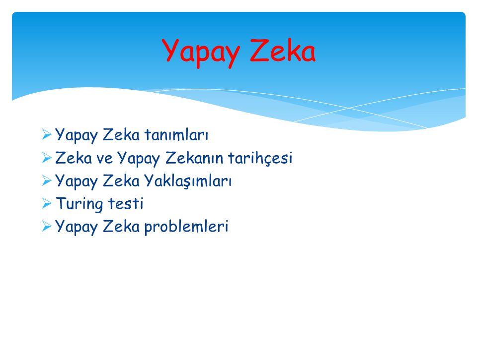 Yapay Zeka Yapay Zeka tanımları Zeka ve Yapay Zekanın tarihçesi