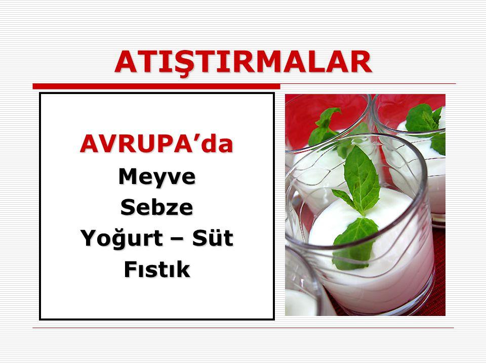 ATIŞTIRMALAR AVRUPA'da Meyve Sebze Yoğurt – Süt Fıstık