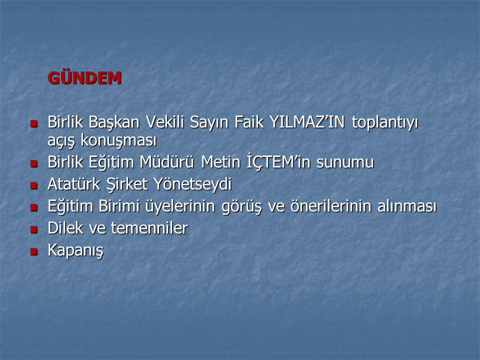 GÜNDEM Birlik Başkan Vekili Sayın Faik YILMAZ'IN toplantıyı açış konuşması. Birlik Eğitim Müdürü Metin İÇTEM'in sunumu.
