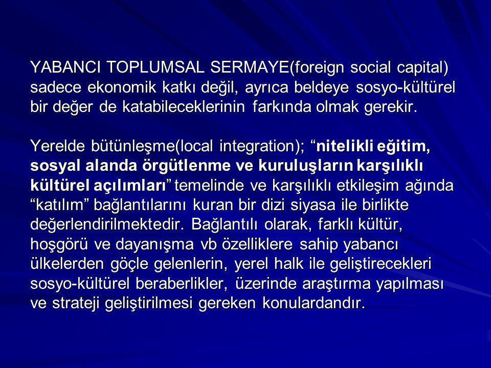 YABANCI TOPLUMSAL SERMAYE(foreign social capital) sadece ekonomik katkı değil, ayrıca beldeye sosyo-kültürel bir değer de katabileceklerinin farkında olmak gerekir.