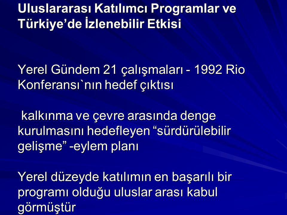 Uluslararası Katılımcı Programlar ve Türkiye'de İzlenebilir Etkisi Yerel Gündem 21 çalışmaları - 1992 Rio Konferansı`nın hedef çıktısı kalkınma ve çevre arasında denge kurulmasını hedefleyen sürdürülebilir gelişme -eylem planı Yerel düzeyde katılımın en başarılı bir programı olduğu uluslar arası kabul görmüştür