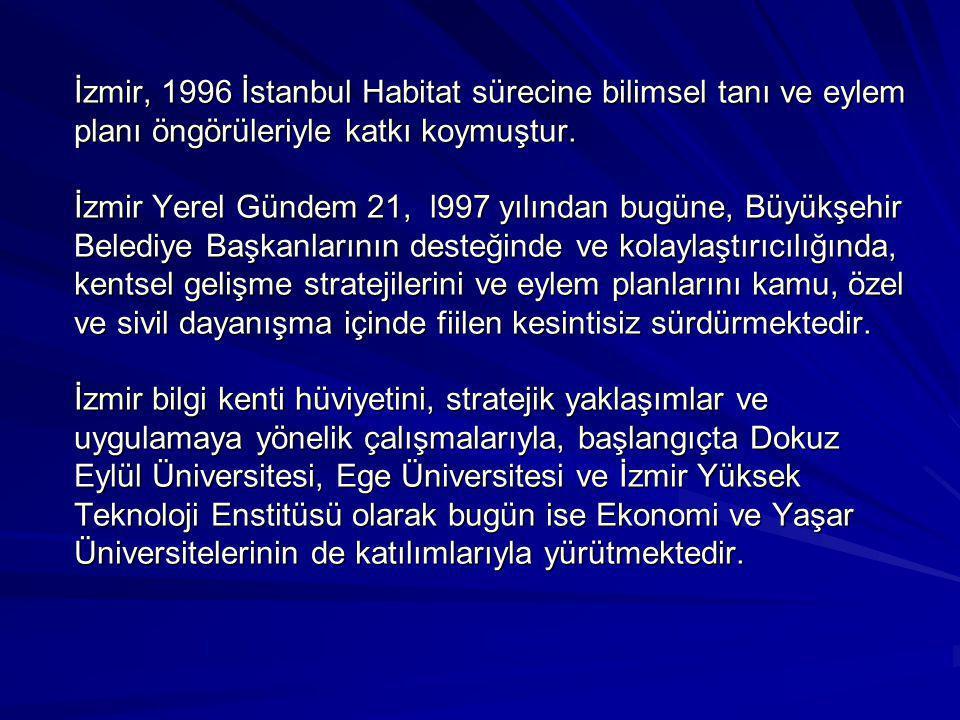 İzmir, 1996 İstanbul Habitat sürecine bilimsel tanı ve eylem planı öngörüleriyle katkı koymuştur.