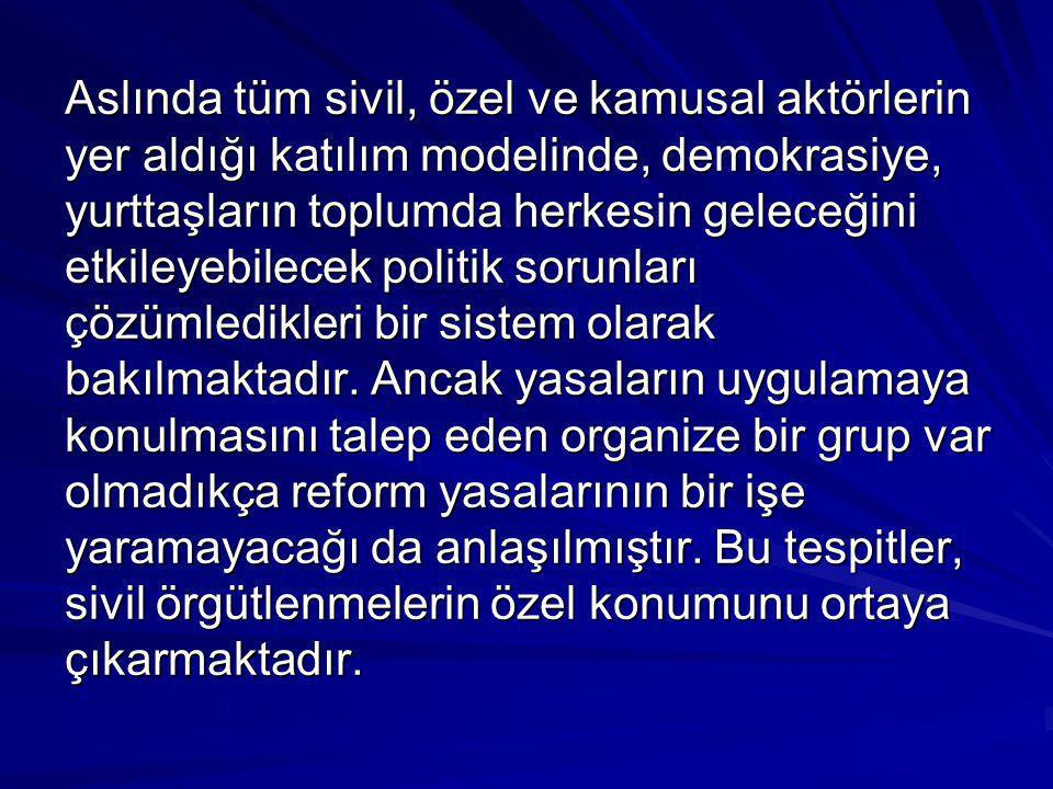 Aslında tüm sivil, özel ve kamusal aktörlerin yer aldığı katılım modelinde, demokrasiye, yurttaşların toplumda herkesin geleceğini etkileyebilecek politik sorunları çözümledikleri bir sistem olarak bakılmaktadır.