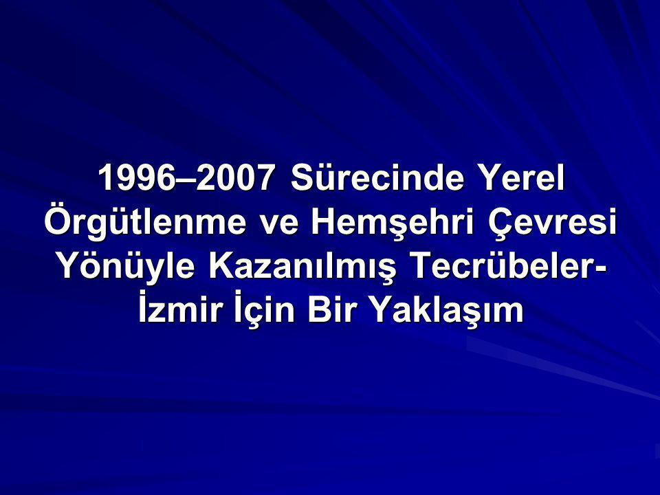 1996–2007 Sürecinde Yerel Örgütlenme ve Hemşehri Çevresi Yönüyle Kazanılmış Tecrübeler-İzmir İçin Bir Yaklaşım