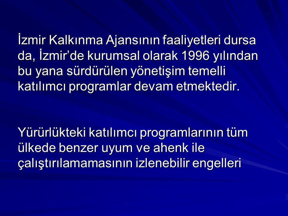 İzmir Kalkınma Ajansının faaliyetleri dursa da, İzmir'de kurumsal olarak 1996 yılından bu yana sürdürülen yönetişim temelli katılımcı programlar devam etmektedir.