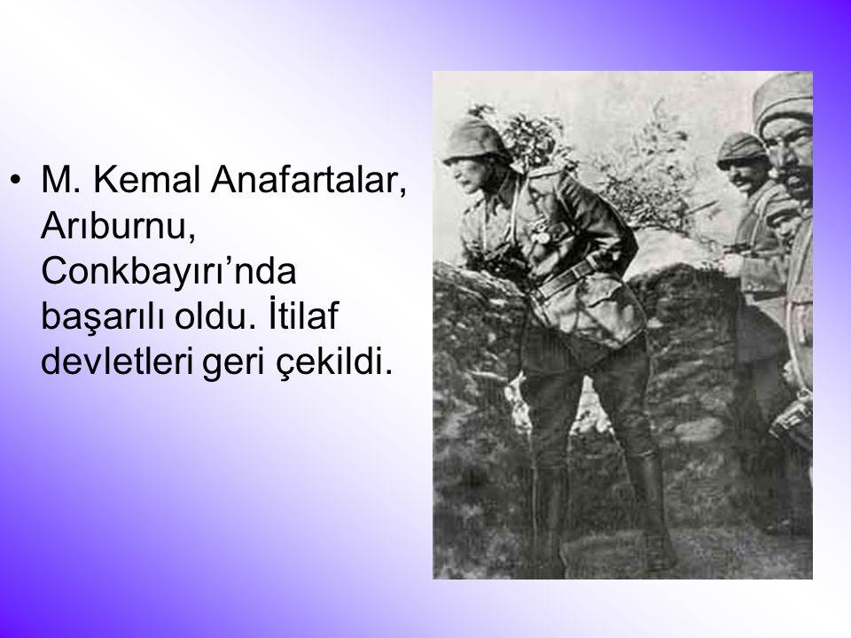 M. Kemal Anafartalar, Arıburnu, Conkbayırı'nda başarılı oldu
