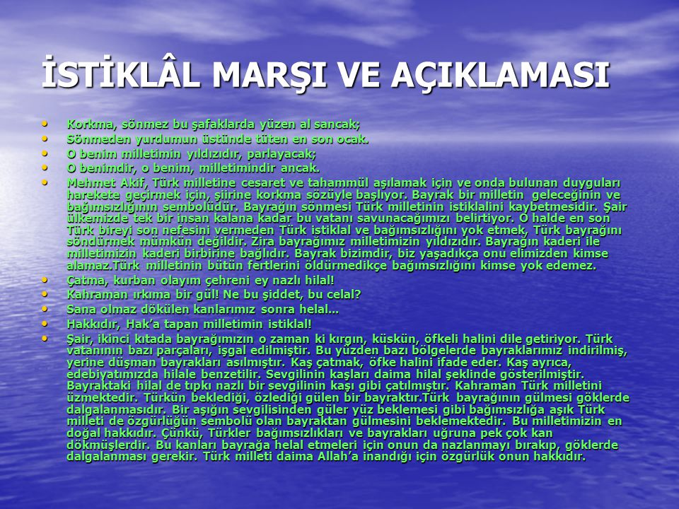 İSTİKLÂL MARŞI VE AÇIKLAMASI