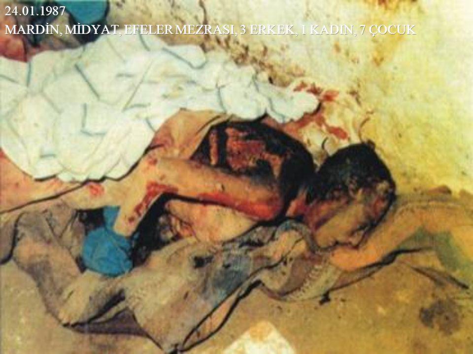24.01.1987 MARDİN, MİDYAT, EFELER MEZRASI, 3 ERKEK, 1 KADIN, 7 ÇOCUK