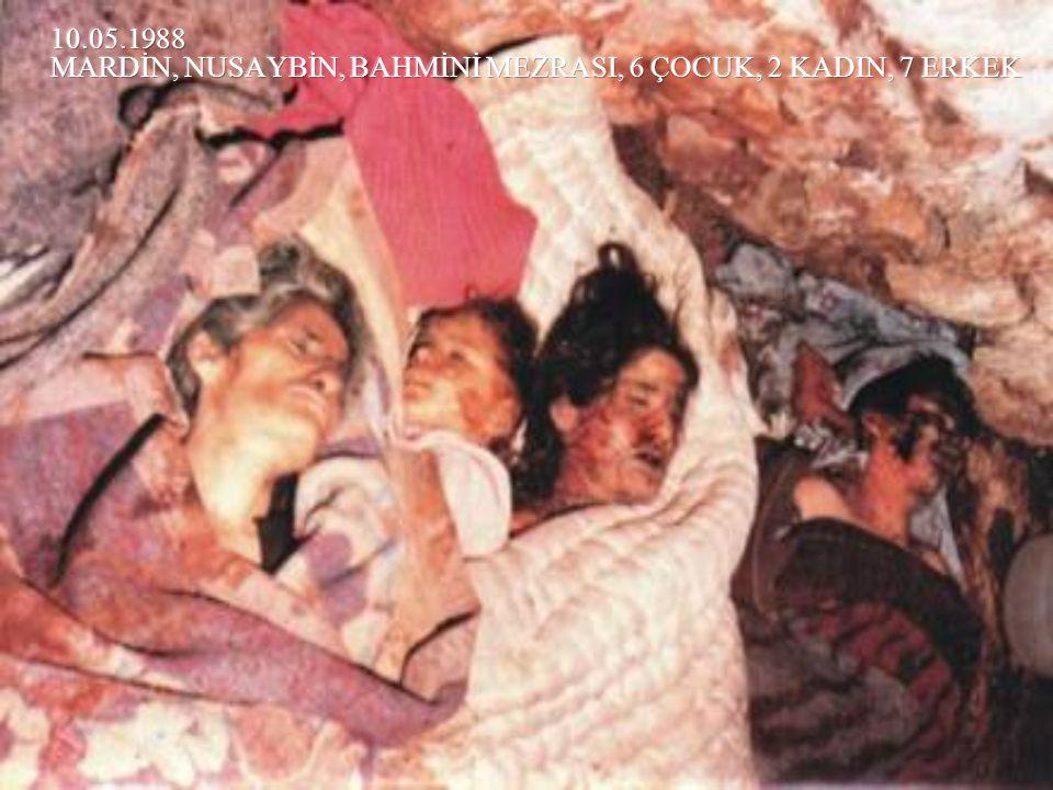 10.05.1988 MARDİN, NUSAYBİN, BAHMİNİ MEZRASI, 6 ÇOCUK, 2 KADIN, 7 ERKEK