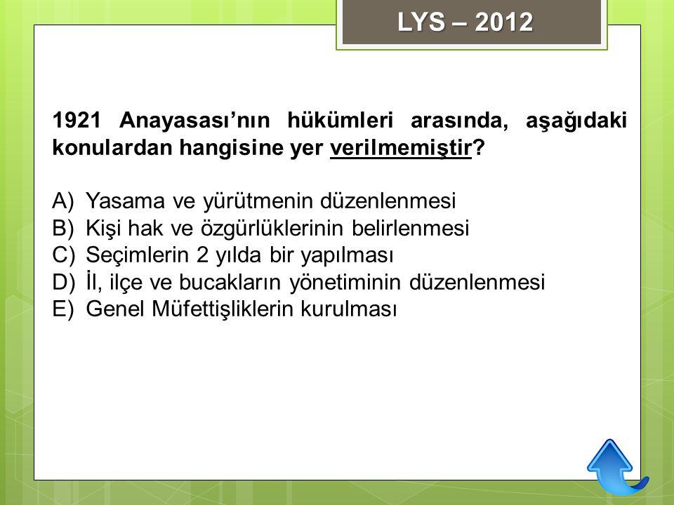LYS – 2012 1921 Anayasası'nın hükümleri arasında, aşağıdaki konulardan hangisine yer verilmemiştir