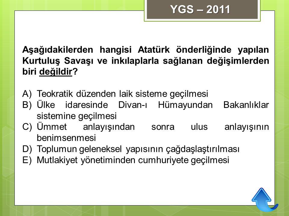 YGS – 2011 Aşağıdakilerden hangisi Atatürk önderliğinde yapılan Kurtuluş Savaşı ve inkılaplarla sağlanan değişimlerden biri değildir